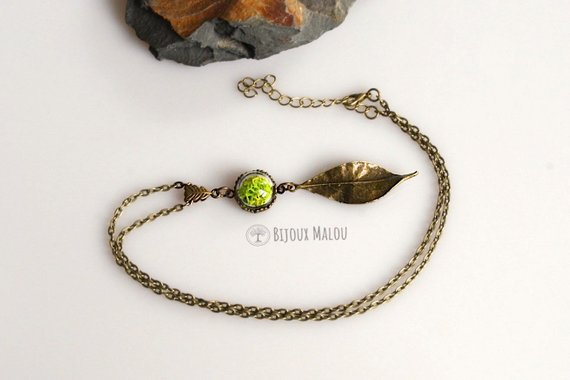 Real Moss Specimen Necklace