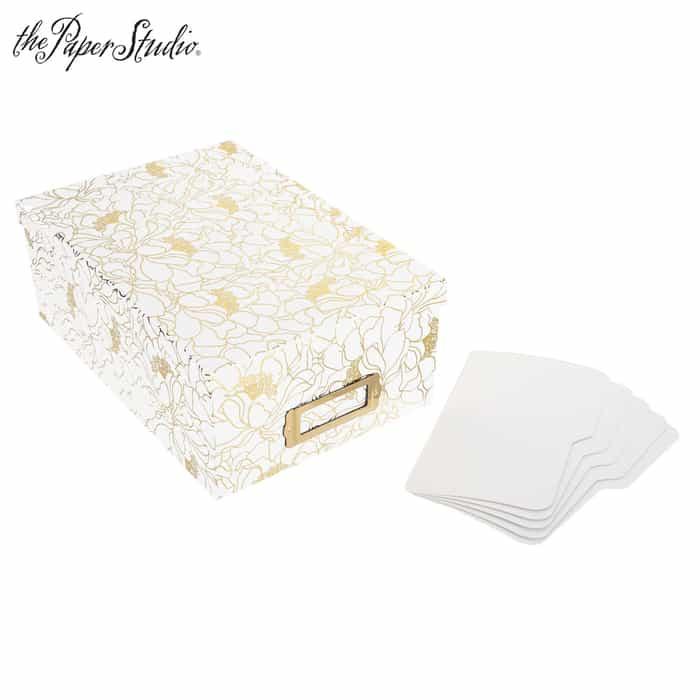 White & Gold Foil Floral Photo Storage Box