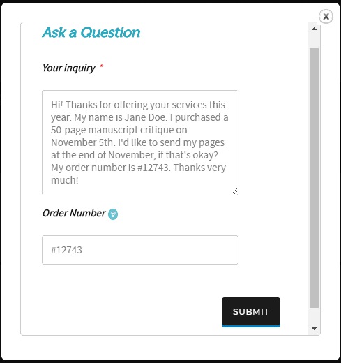 Screenshot of a filled-in inquiry form.